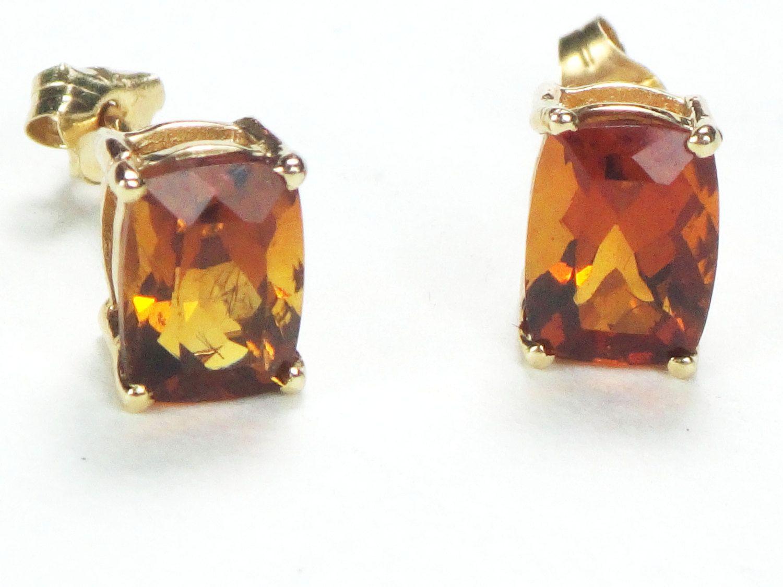 Vintage 14k Gold Citrine Earrings Stud Earrings Post Back Earrings November Birthstone Earrings Golden Brown Stone Earrings Free Shipping by BelmarJewelers on Etsy