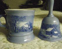 Vintage CURRIER and  IVES MUG and Dinner Bell