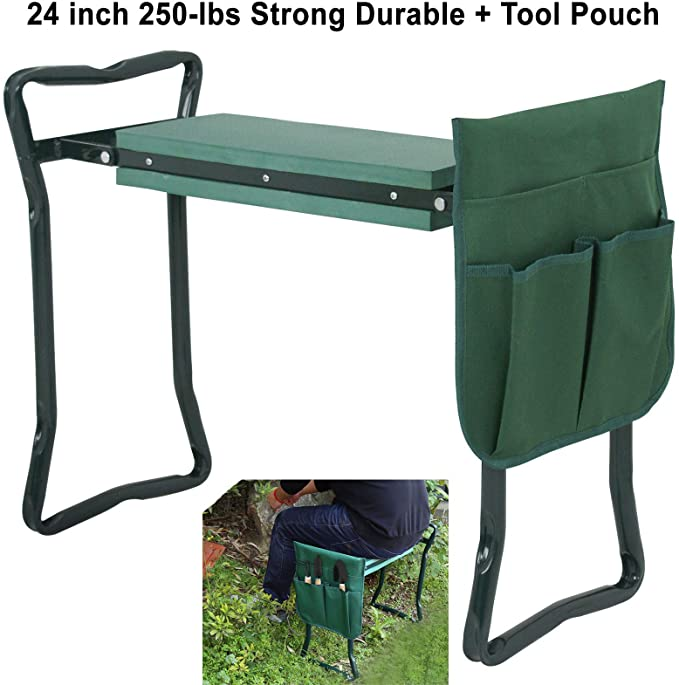 Green Garden Foldable Kneeler//Kneeling Bench Stool Cushion Seat Pad Tools Pouch