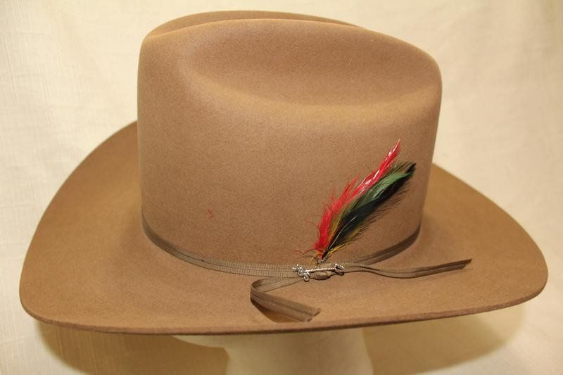 f00bf2579fef0 Vintage Stetson 4X Beaver Tan Light Brown Fur Felt Western Hat Size 7 1 4  58cm