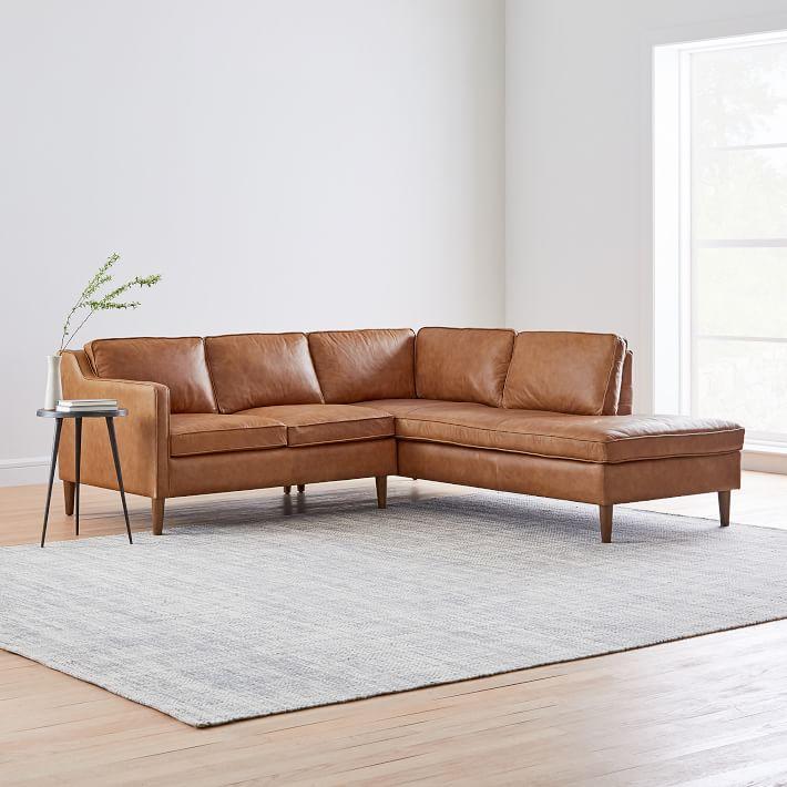 Hamilton Leather 2 Piece Terminal Chaise Sectional Sectional Sofa With Chaise Leather Sectional Sofas Leather Chaise Sectional