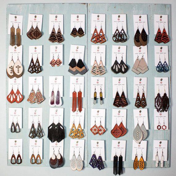 ac243ab59 Laser Cut Leather Earrings - Geometric Crisscross Pattern (Choose ...