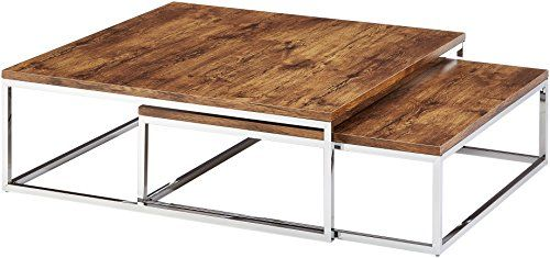 Relaxdays Couchtisch Holz FLAT 2er Set natur HBT 27 x 80 x 80 cm ...