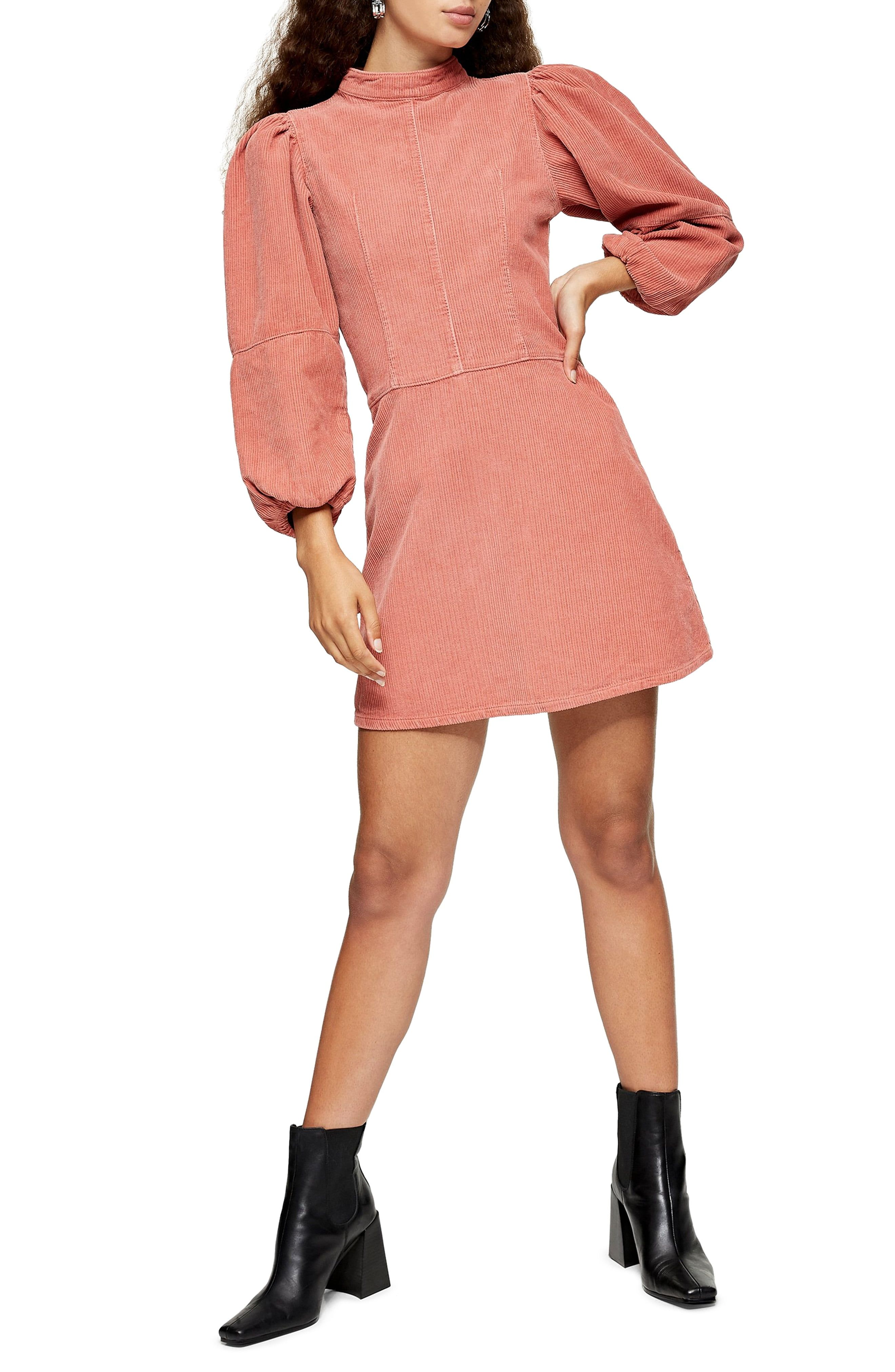 Topshop Long Sleeve Corduroy Babydoll Minidress Nordstrom Mini Dress Balloon Sleeve Dress Clothes For Women [ 4048 x 2640 Pixel ]