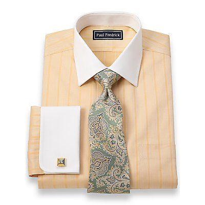 2-Ply Cotton Satin Herringbone Spread Collar French Cuff Dress Shirt | Paul Fredrick