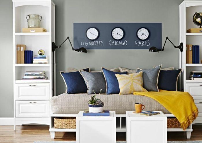 Kreative Wandgestaltung Mit Farbe Wanddesign Ideen Steinmauer Uhr