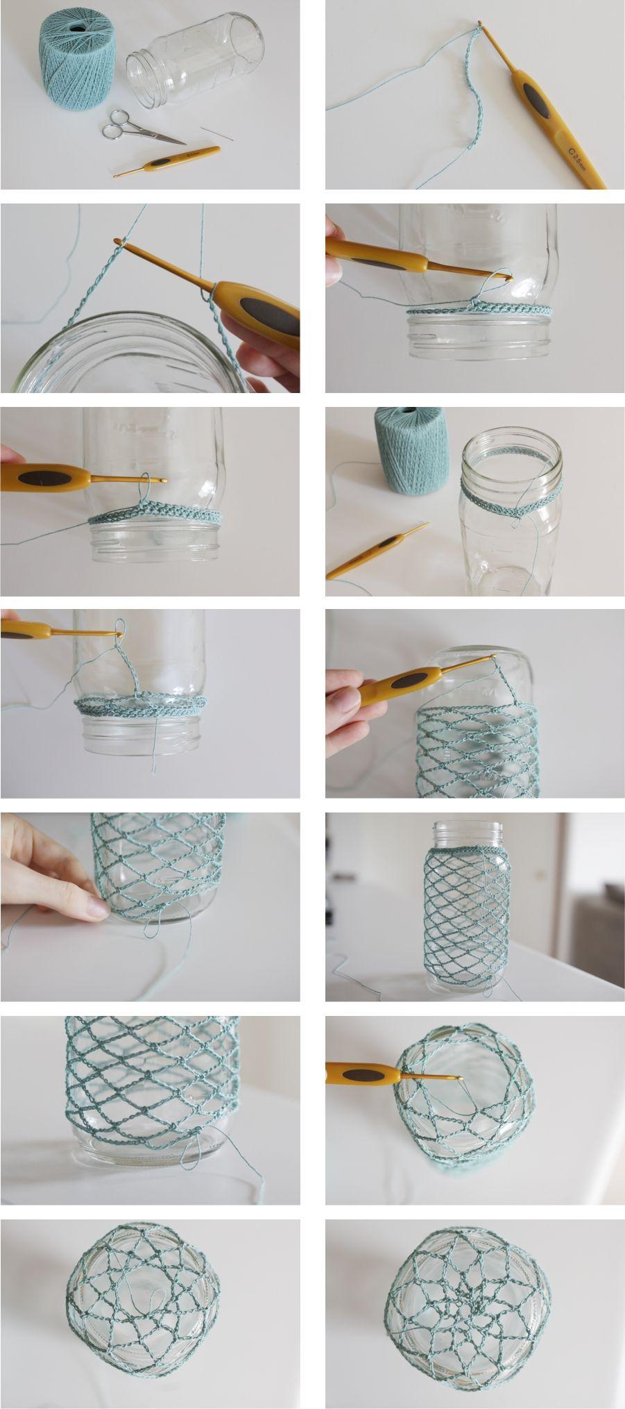 How to Crochet: Mason Jar Cozy ❥ 4U // hf   Gläser usw. umhäkeln ...