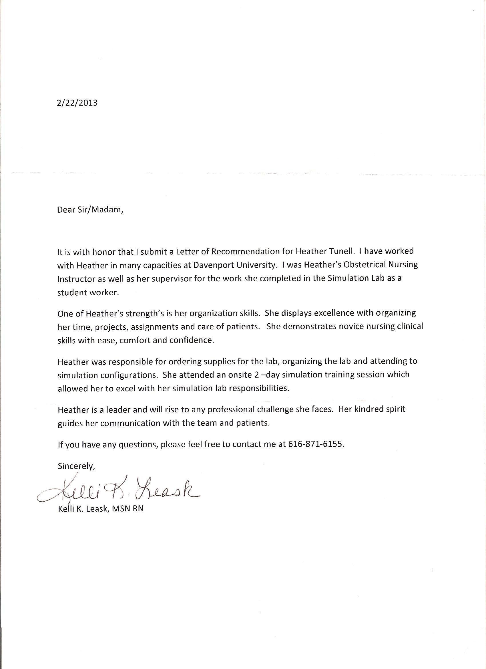 43+ Letter of recommendation for nursing school sample ideas