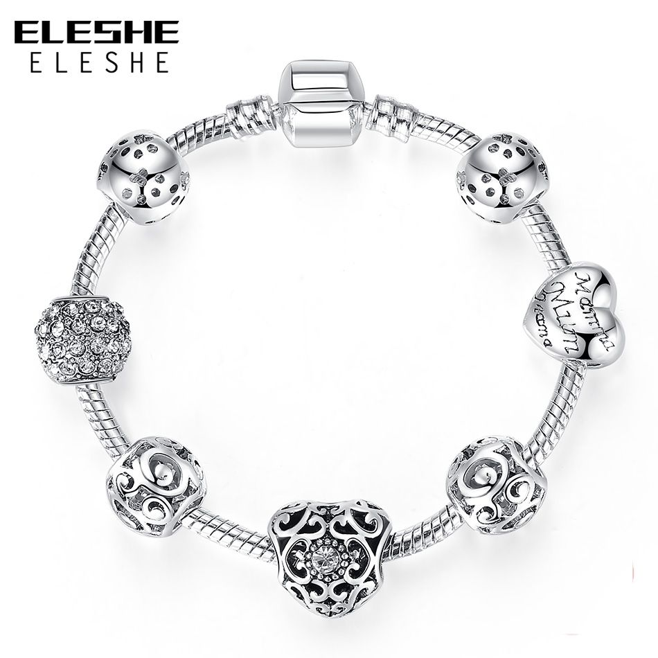 Luxury Crystal Heart Charm Bracelets Bangles Silver Color Bracelets