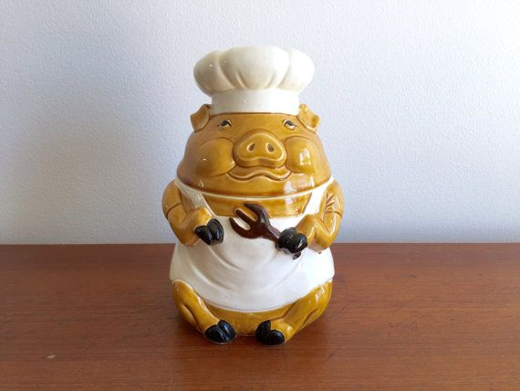 Piggy Cookie Jar / Chef Pig Cookie Container with Lid / Ceramic Kitchen Storage / Vintage Piglet Canister Brown White Black  This is an adorable