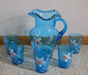 Victorian Art Glass Pitcher | ... -Victorian-Blue-Ruffled-Art-Hand-Painted-Glass-Pitcher-5-Glasses
