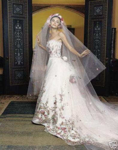 Lazaro Veils Lazaro 3119 Wedding Dress Hand Embroidered Floral