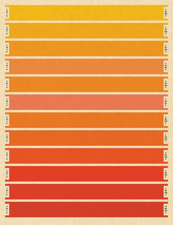 Litmus Orange Cmyk Print Large Bars Pantone Index Color