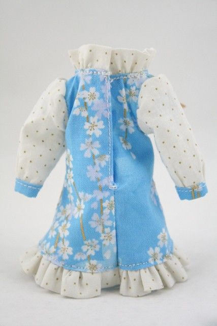 SALE Custom Blythe outfit Gold Blue sakura dress by PikaDollyz