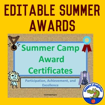 summer camp award certificates editable education we are in it
