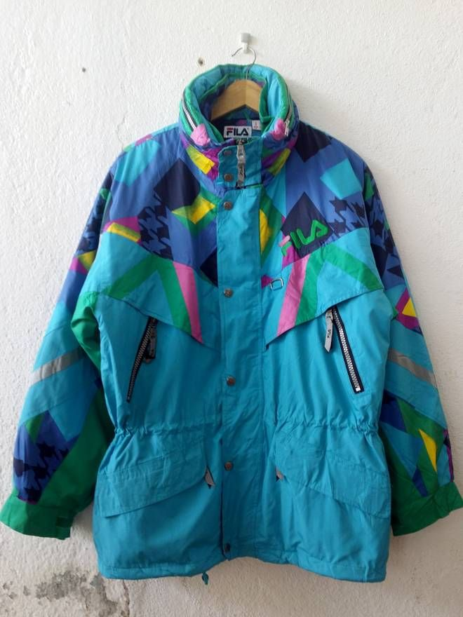 79b211b8a9 RN#91135 2 in 1 Jacket Fila Italia Vintage Ski Jacket and Reversible Fila  Thermore Puff Fleece Jacket Zipper Buttons Down Winter Sweater Size Large Size  US ...