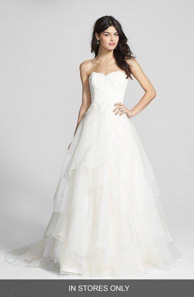 Hayley Paige \'Mila\' Strapless Silk Organza Wedding Dress (In Stores ...