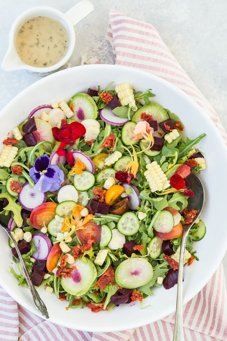 Healthy Summer Salad With Greens Vegetables Beets Corn And Sun Dried Tomatoes Drizzled With Best Salad Recipes Weelicious Recipes Salad Recipes For Dinner [ 1104 x 736 Pixel ]