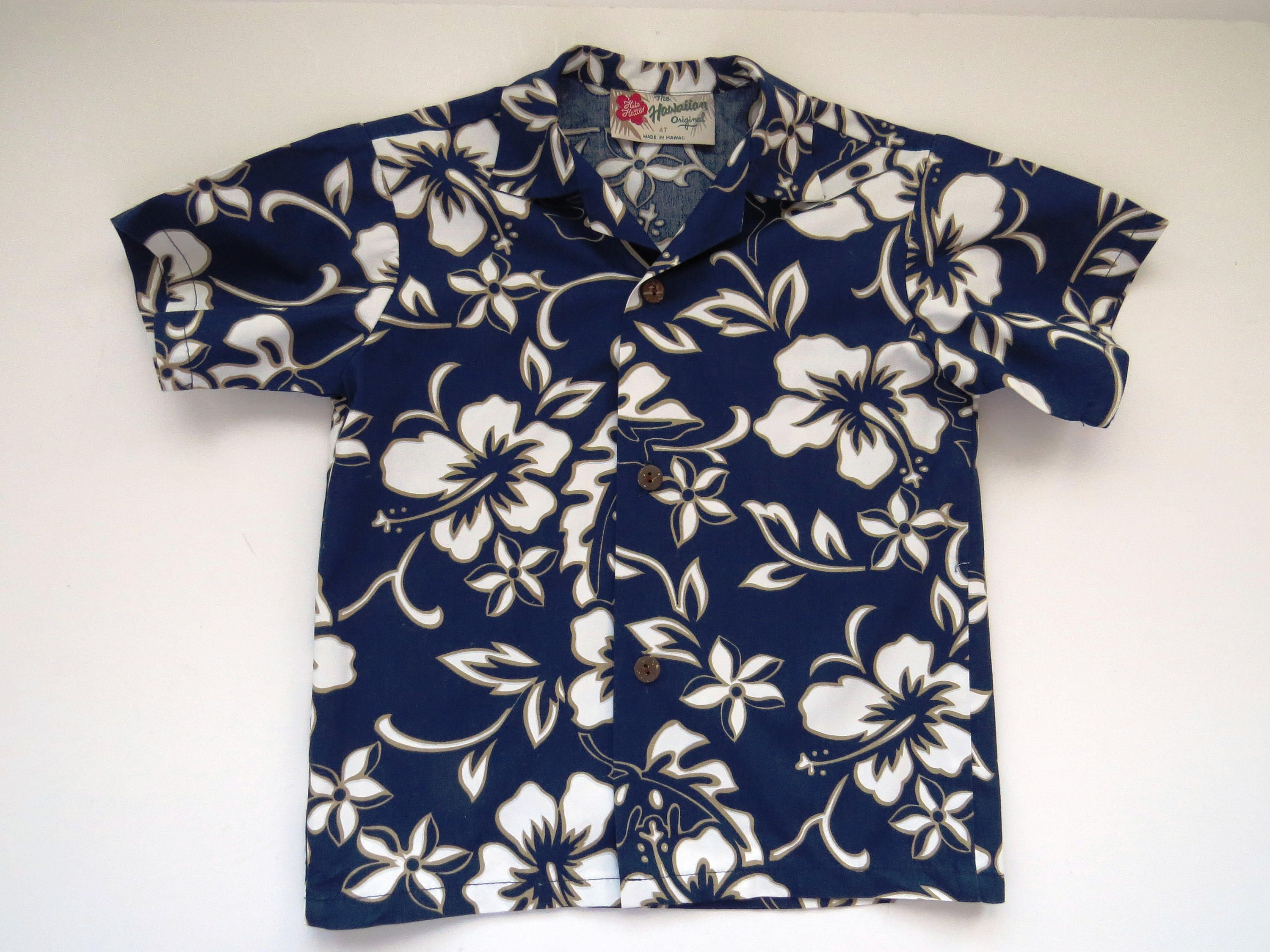 752e694e32 Little Boys Hawaiian Aloha Shirt by Hilo Hattie - Size 4T - Made in Hawaii  - Toddler Child - Blue White Hibiscus - Luau - Vacation - School by ...
