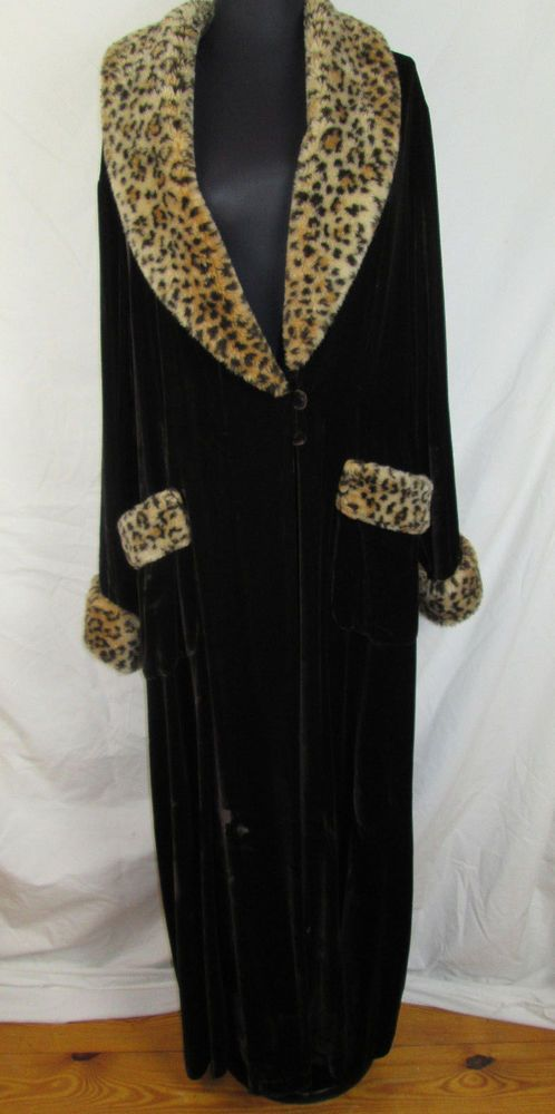 Vtg Victoria Secret Brown SILK & VELVET Fur LEOPARD Long OPERA Lounge Robe M/L #VictoriasSecret #Robes