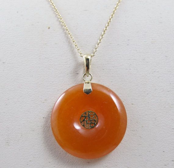 Chinese carnelian pendant necklace 14k yellow gold carnelian jade chinese carnelian pendant necklace 14k yellow gold carnelian jade donut shaped shou fortune vintage chinese pendant aloadofball Image collections