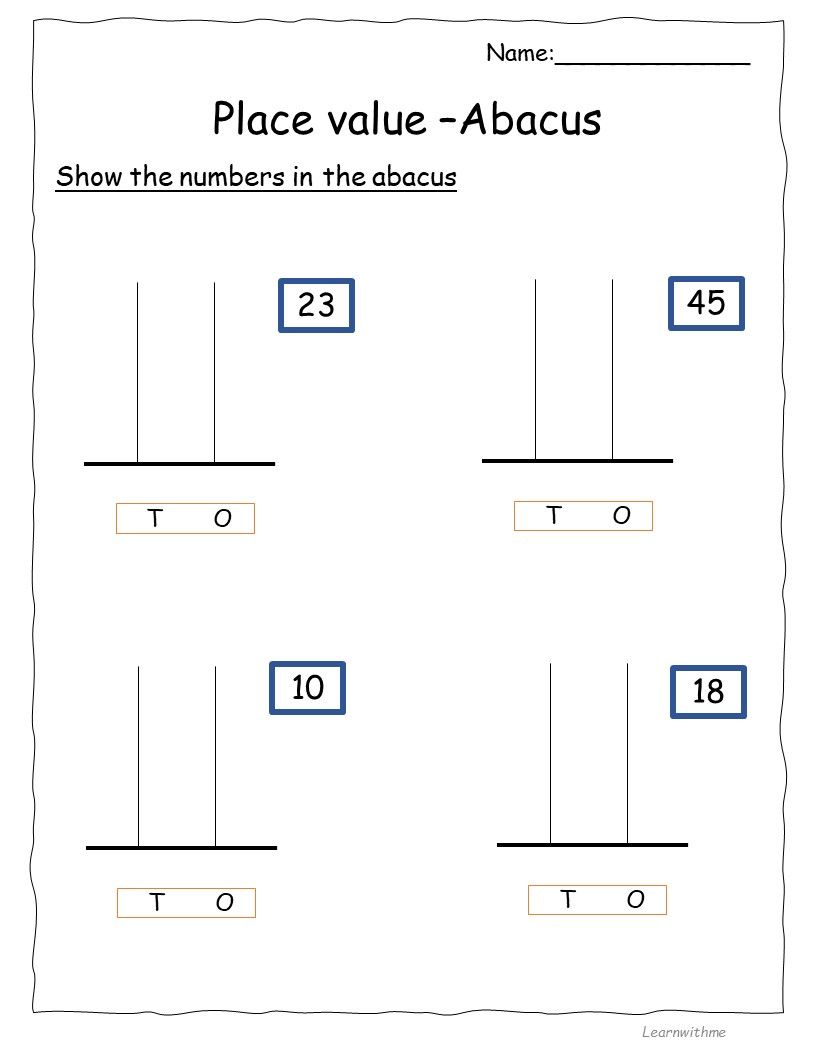 Place Value Abacus 1st Grade Math Worksheets Math Worksheets Free Printable Worksheets [ 1056 x 816 Pixel ]