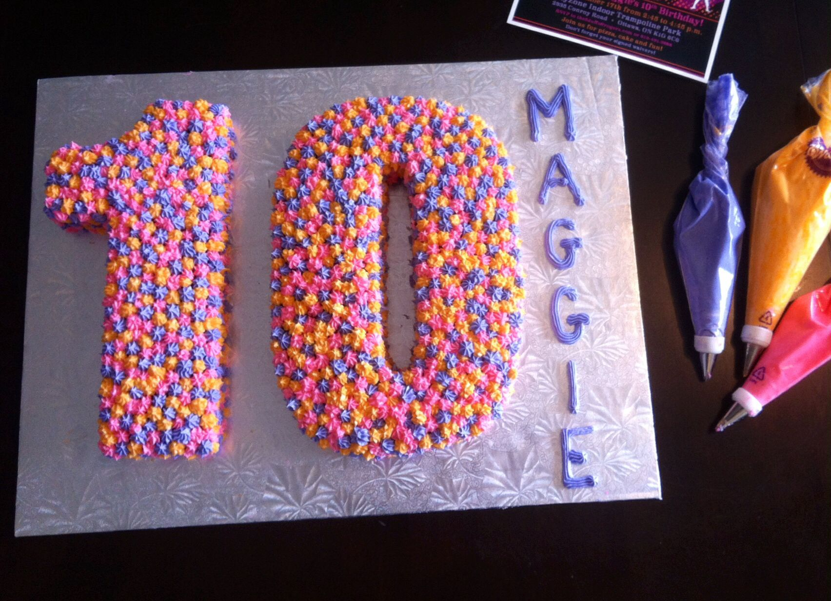 Cool 10Th Birthday Cake Pink Purple And Orange Number Cake With Funny Birthday Cards Online Ioscodamsfinfo