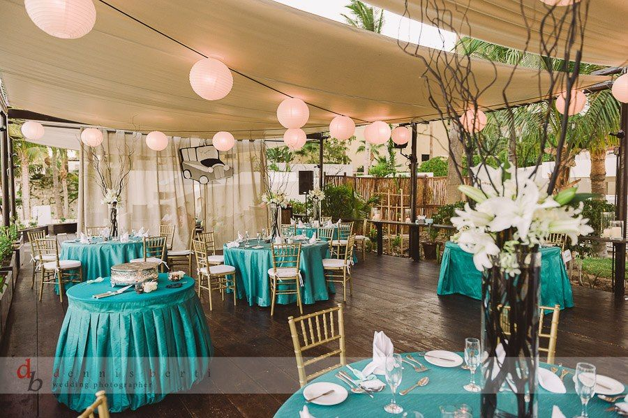 Turquoise And Gold Wedding Decor At Baja Cantina On The Beach In Cabo Destination Wedding Decor Wedding Decor Elegant Wedding Rentals Decor