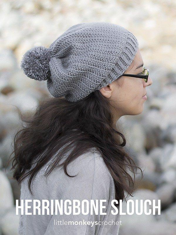 Herringbone Slouch Crochet Pattern Free Slouchy Hat Crochet