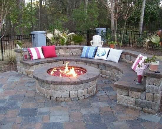 Round Fire Pit W Semi Circle Seating Backyard Fire Outdoor Fire Backyard