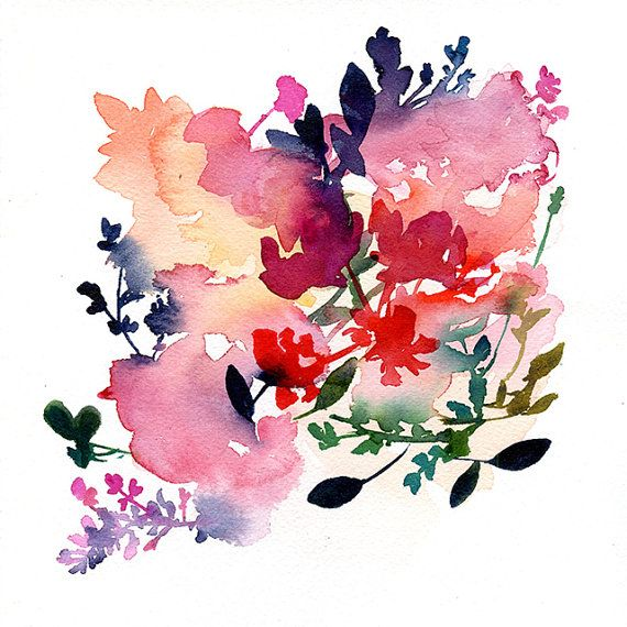 Abstract Floral Watercolor in soft shades of salmon and pink with indigo and purple Bloom (NY 2016). Watercolor and inks over high quality 300gms