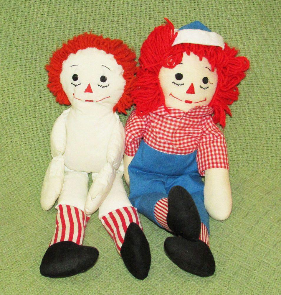 "Vintage Pair RAGGEDY Ann & ANDY Plush Dolls 19"" Long Eyelet Buttons Stuffed Toys #PlushDolls"
