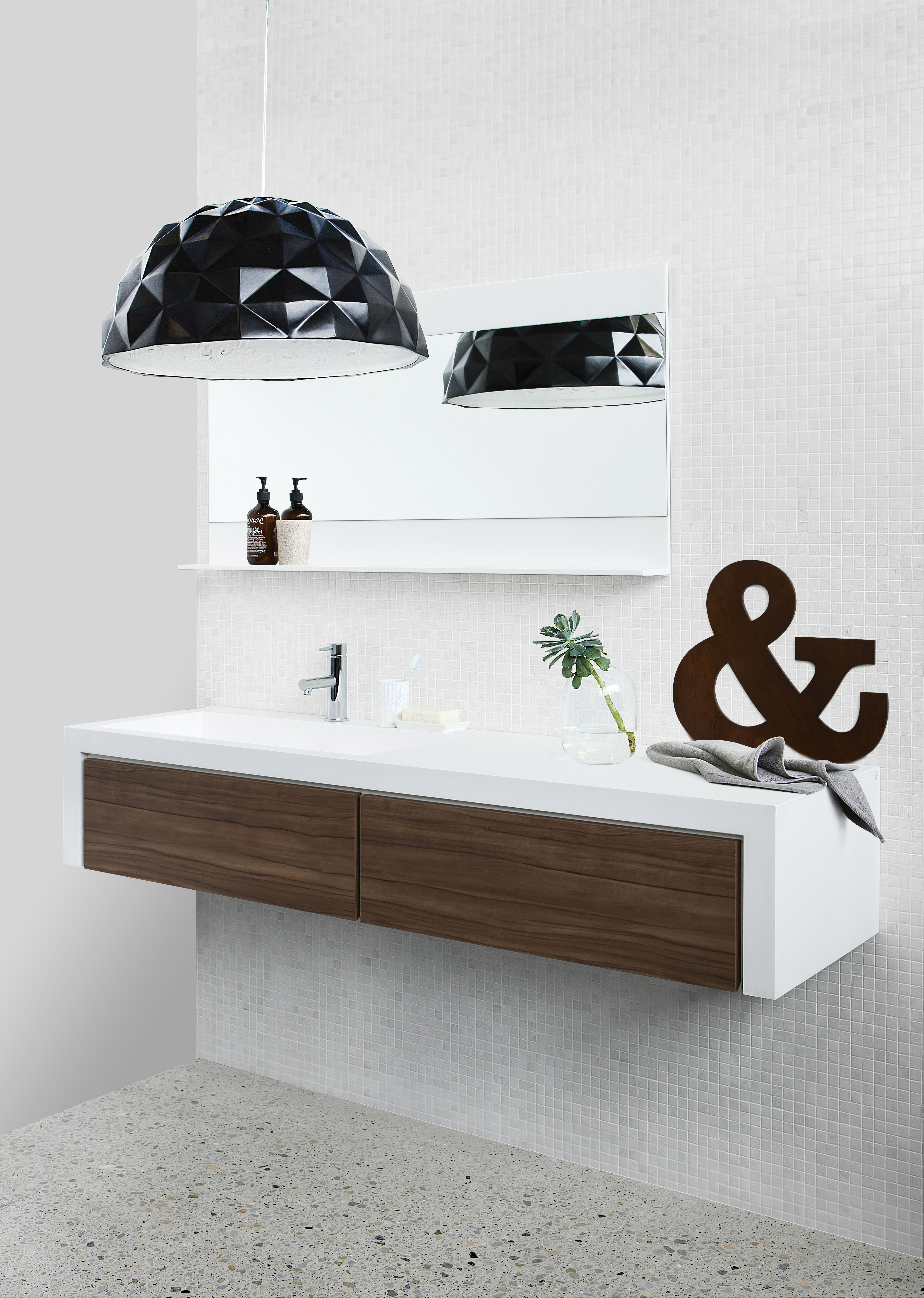 CIBO for Reece 1600 Vanity with Navurban™ Yarra Walnut. Black Pendant LightBathroom  DesignsBathroom ...