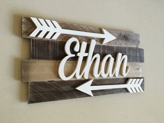 **NEW ITEM!*** This unique custom made reclaimed wood sign would make a great personalized touch to any nursery or childs room. Made from solid reclaimed wood slats that are hand selected. No two wood pieces are the same giving your child a truly unique one of a kind item that they