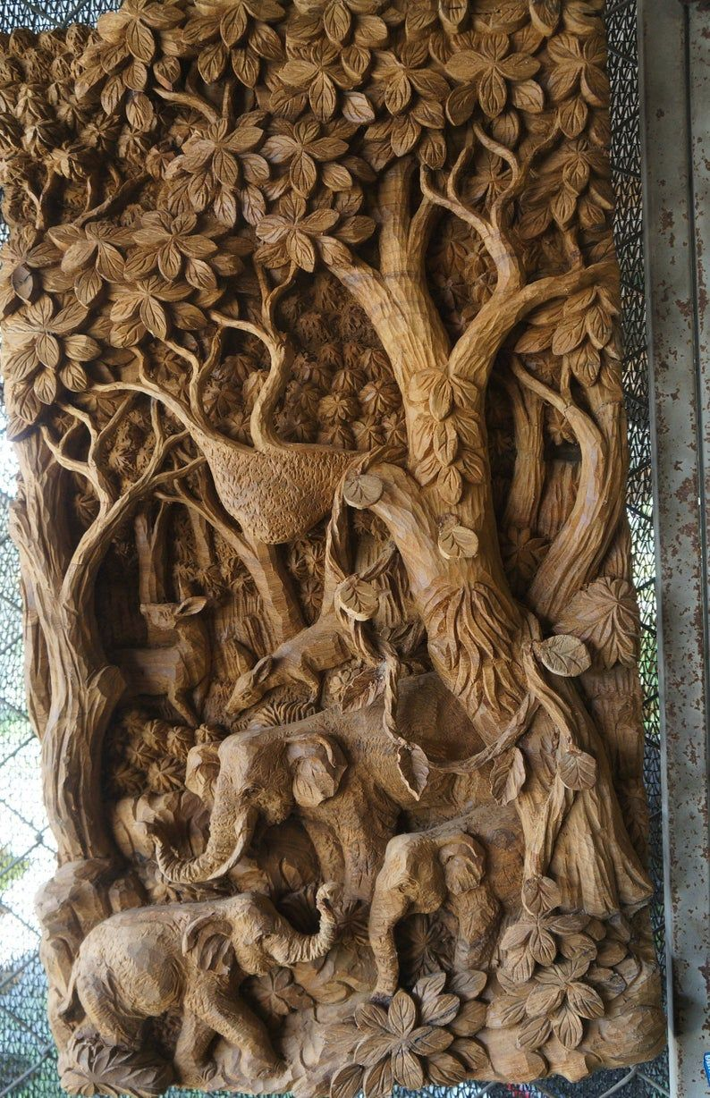 Intricate Wood Carving Wall Hanging Forest Scene Thai Wood Carving Sculpture Wall Art Decor 32 X Wall Sculpture Art Wood Carving Art Sculpture Carved Wall Art