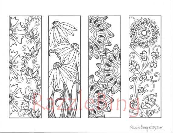 DIY Bookmark Printable Coloring Page Zentangle Inspired Spring Flowers Zendoodle Doodle