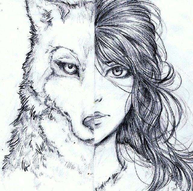 Mujer Loba Boceto Esbozo De Lobo Y Dibujos Para Niños