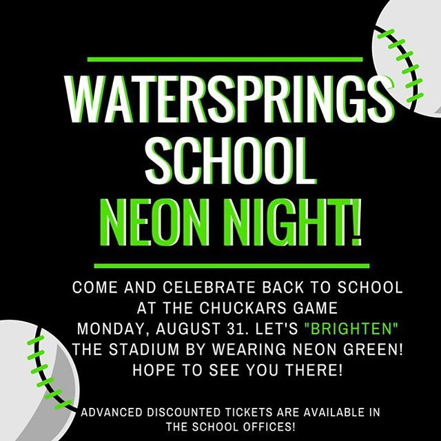 Join us for a baseball game August 31 to celebrate coming back to school! #waterspringsschool #backtoschool