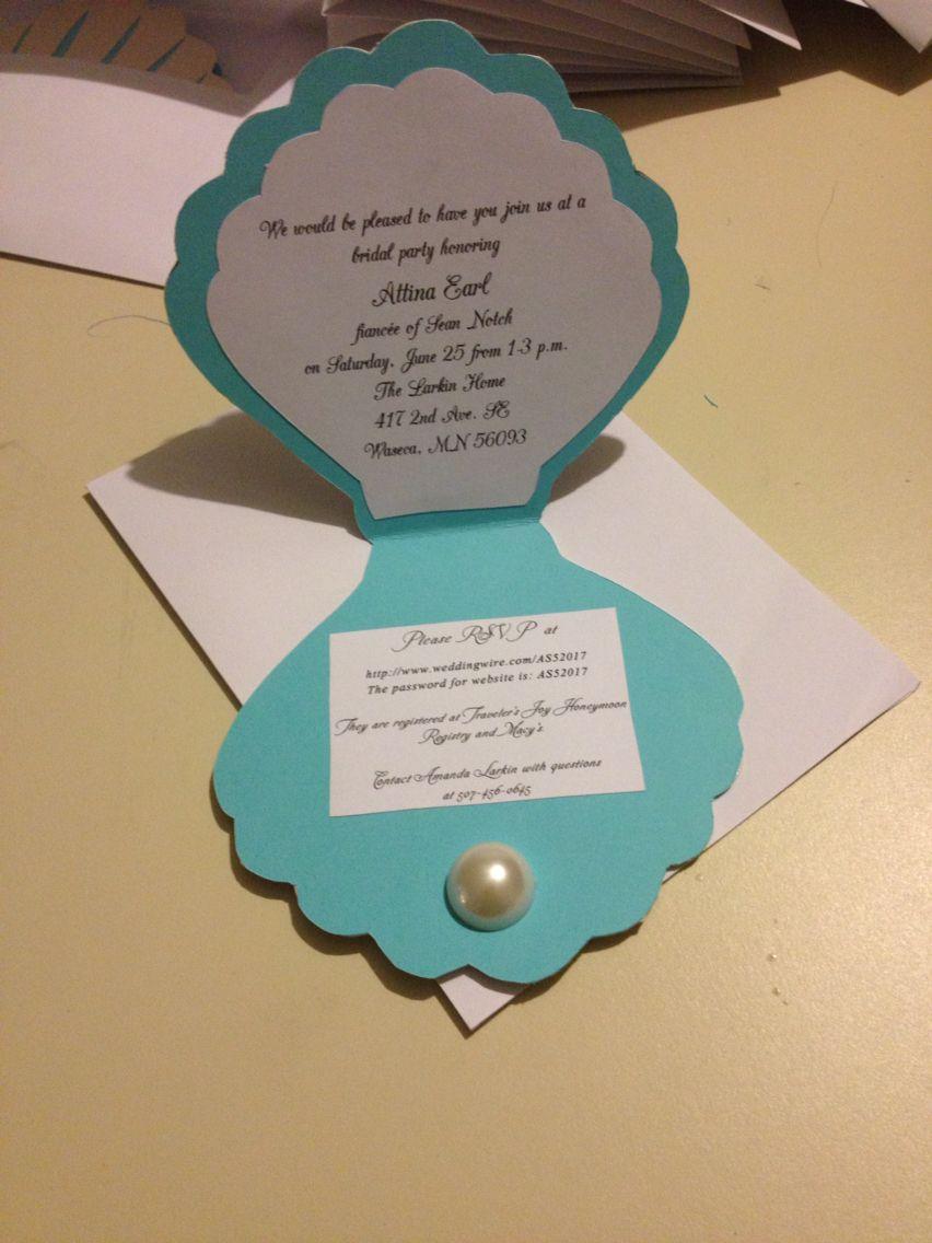 Pearls and tea bridal shower invitation mermaids under the sea – Bridal Shower Invitations Tea Party Theme