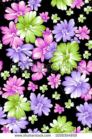 flower pattern black background - buy this illustration on Shutterstock & find other images.