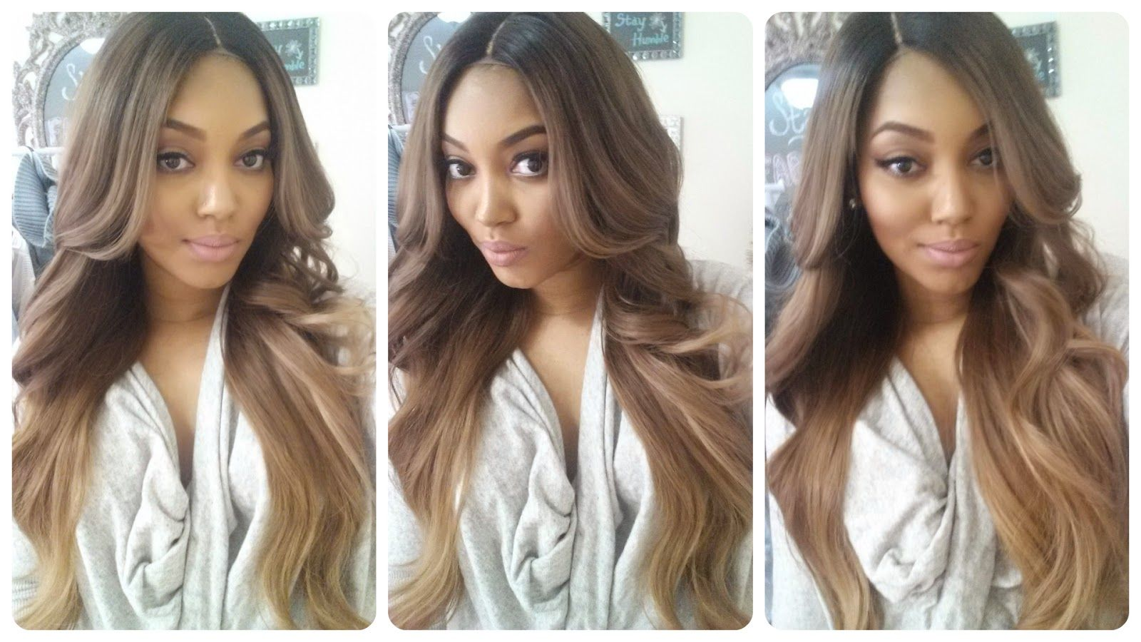 All Things Fabulous 101  BRAND NEW Custom Colored Ash Brown to Medium Ash  Blonde Balayage Ombre Hand Sewn Lace Closure Wig +MORE 6dc746ac8bc2