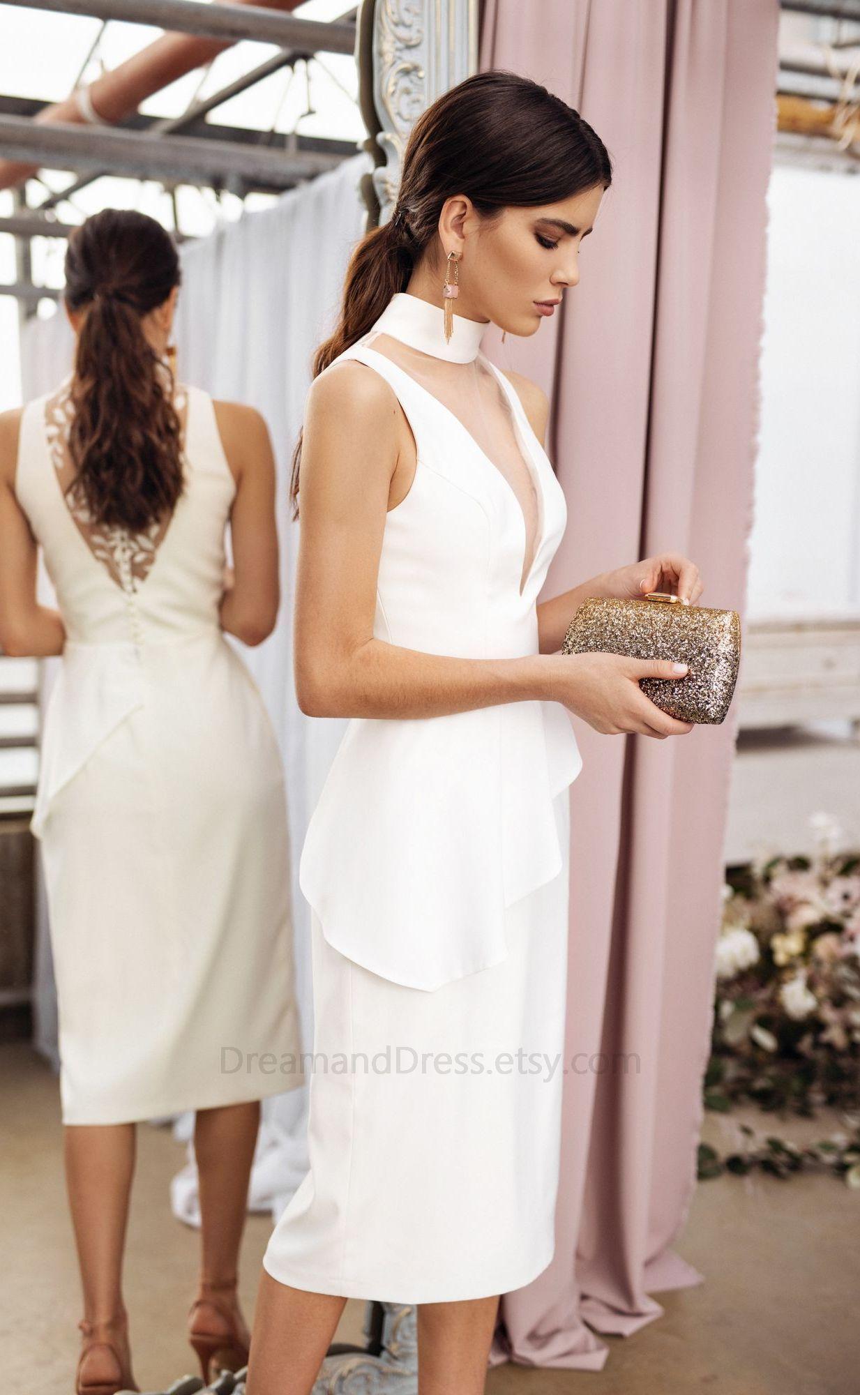 Midi Satin Wedding Dress By Dream Dress Minimalist Simple Bridal Gown V Neck Reception Pencil In 2021 Trendy Wedding Dresses Chic Wedding Dresses Simple Bridal Gowns [ 2000 x 1233 Pixel ]