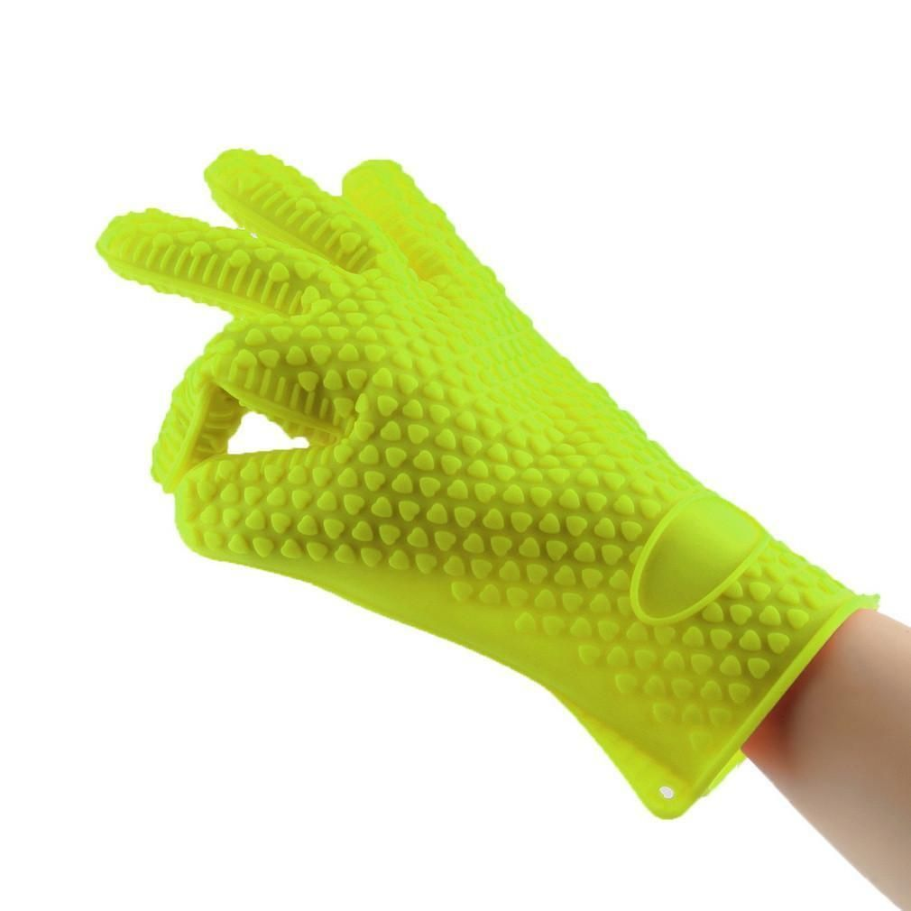 Green color Heat Resistant Silicone Glove Cooking Baking BBQ Oven Pot Holder Mitt Kitchen