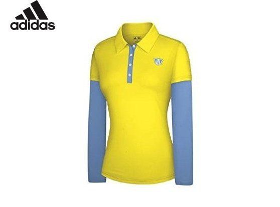 bbd2bbbf $19.99 - Adidas Taylormade Womens FP Long Sleeve Color Block Polo Shirt  (Large (6), Navy/Limeade)