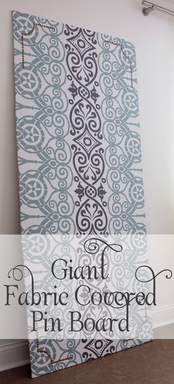 giant fabric covered pin board tutorial nailhead trim pin boards and fabric covered. Black Bedroom Furniture Sets. Home Design Ideas