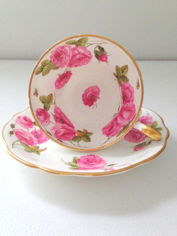 English Bone China Foley Century Rose Pattern Tea Cup & Saucer Tea Party - c. 1950s