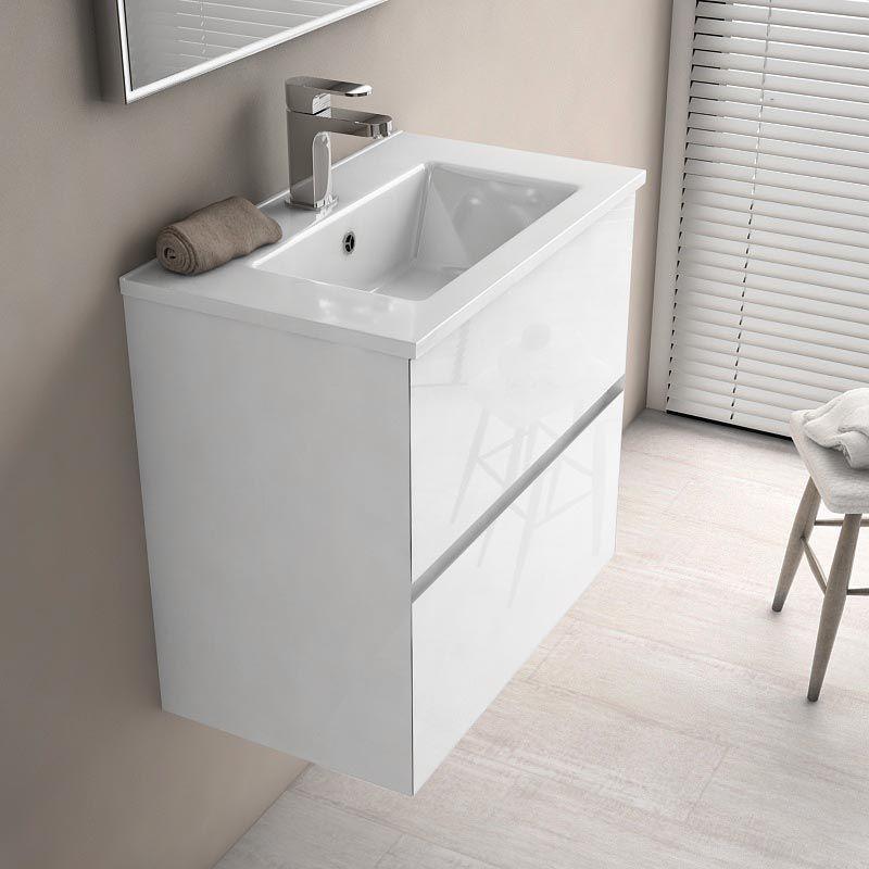 floride s meuble salle de bain 61x36 cm blanc brillant