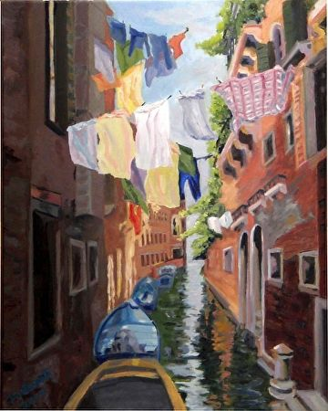 """Laundry Day by Marian Fortunati Oil ~ 20"""" x 16"""""""