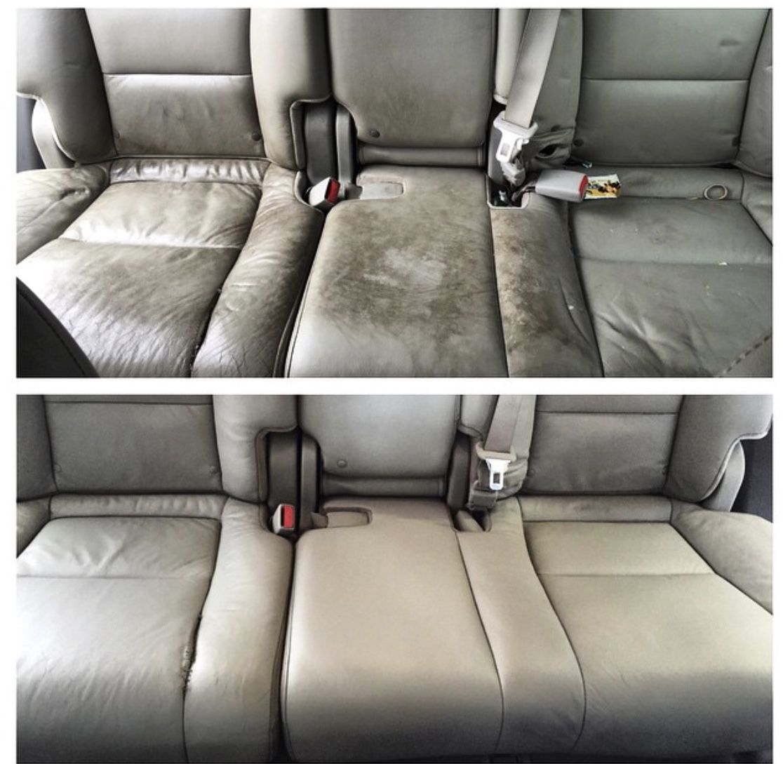 Before and after interior seat cleaning. Seating