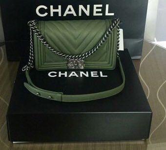 8cc7435fcb79 Olive green Chanel purse